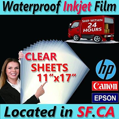 11 X 17 - 100 Sheets Waterproof Inkjet Transparency Positive Film Paper -5mil