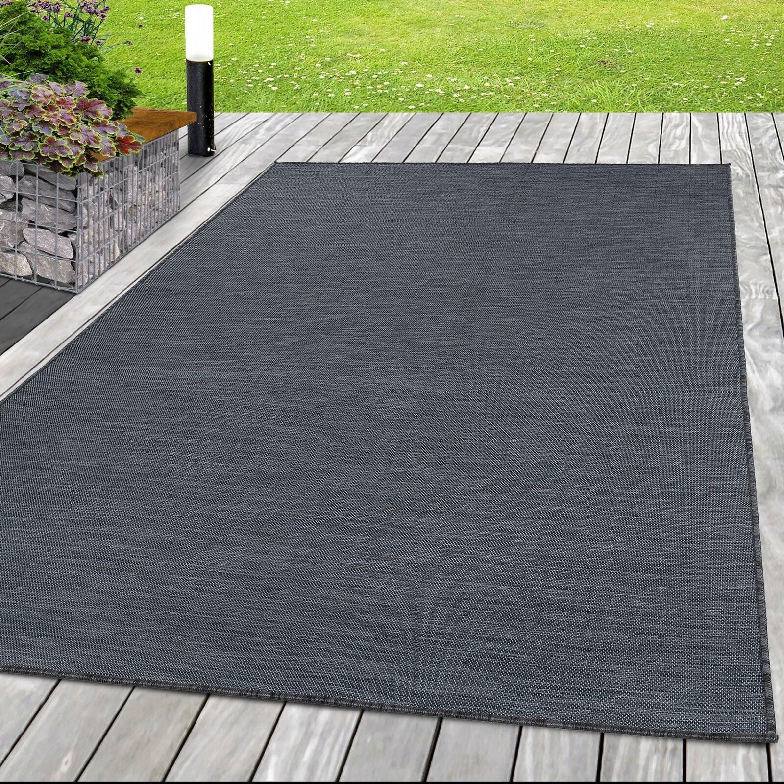 Sisal Teppich Indoor innen - Outdoor außen Flachgewebe Uni Grau Schwarz meliert