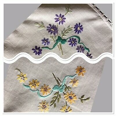"""Lovely Vintage Linen Tray Cloth Hand Embroidered 20"""" x 15"""" Purple Yellow VGC"""