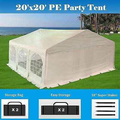Sale     20X20 Pe Party Tent   Heavy Duty Carport Canopy Car Wedding Shelter
