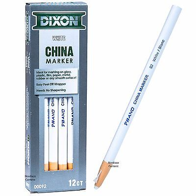 Dixon Phano China Marker White 92 00092, Peel Off Grease Pencil, Box of 12