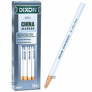 Dixon Phano China Marker White 92 00092, Peel Off Grease Pencil, Box of 12