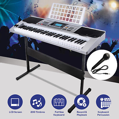 61 Key Music Electronic Keyboard Touch Sensitive Piano Organ Microphone    Stand 24a74a65e5fbc