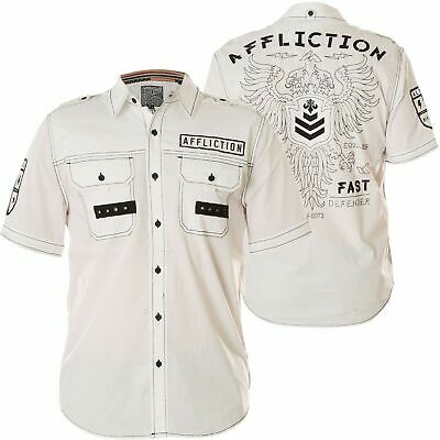 AFFLICTION Mens Button Down Shirt REFORM Embroidered WHITE BLACK Eagle $78 - Eagle Mens Shirt