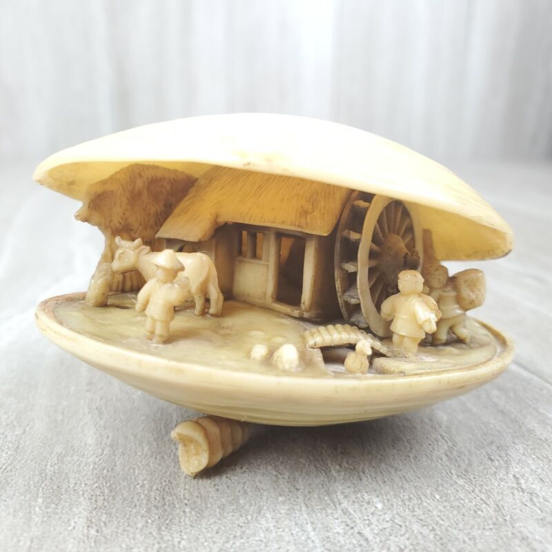 Vintage Japanese Carved Clam Shell Water Wheel Farmhouse Village Style