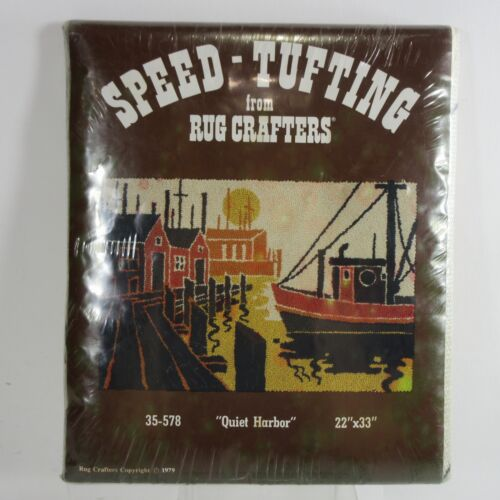 """Vtg 70s Rug Crafters Starter Pattern SPEED TUFTING Quiet Harbor Boats 22"""" X 33"""