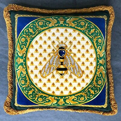 "GIANNI VERSACE silk & velvet fringed pillow Bee & Barocco print 17"" from 1995"