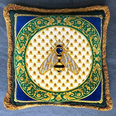 "GIANNI VERSACE silk & velvet fringed pillow Bee & Barocco print 17"" from 1995"