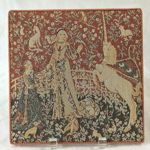 ENGLISH HERITAGE WOVEN TAPESTRY WALL PLAQUE LADY & UNICORN LE GOUT TASTE #04230
