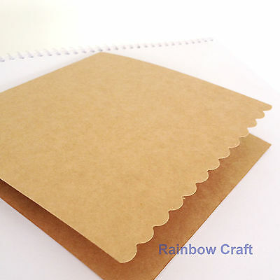 10 blank Cards & Envelopes SQUARE or C6 (9 Colors) - Scallop Wedding Invitation - Sq Kraft