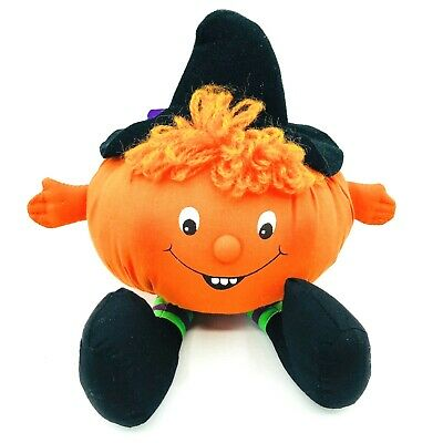 Hallmark Vintage Halloween Plush 1982 Pumpkin Witch Hat Happy Pumpkin Decor 10""