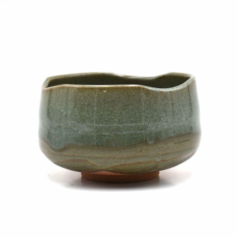 Japanese Handmade Uwagusuri Forest Green Matcha Tea Bowl