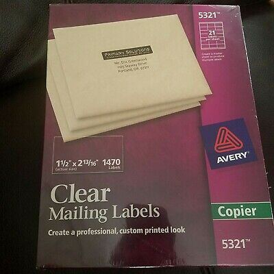 Avery Copier Address Labels 5321 1 12 X 2 1316 Clear Pack Of 1470. 5360
