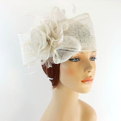 New Woman Church Derby Wedding Sinamay Pillbox Dress Hat SDL-009 White