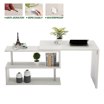 Home Furniture White Corner Computer Desk Rotating L Shape Gaming Study Table