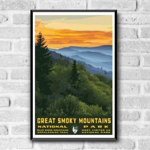 Great Smoky Mountains National Park Poster, No Frame Art Style Decor Home Decor