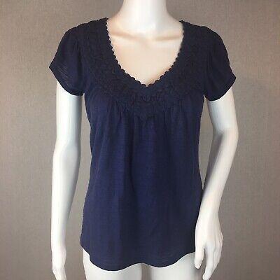 Anthropologie C. Keer Blouse Size XSmall Navy Blue Short Sleeve Crochet Neck*