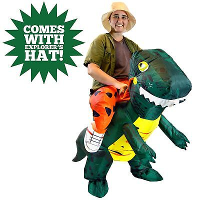Spooktacular Creations Inflatable Dinosaur Riding a T-REX Deluxe Costume Adult