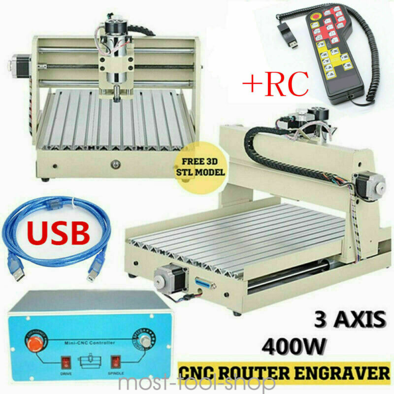 CNC 3040 Router 3Axis Wood Engraving Milling Cutting Machine 400W Engraver+RC 3D