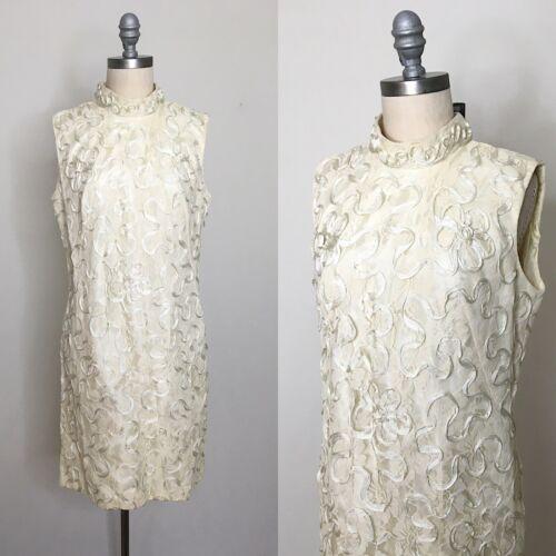 Vintage 60s White Lace Mod Shift Dress Size Medium
