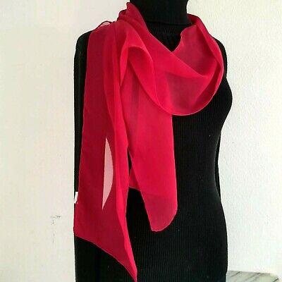 100% Silk Chiffon CRIMSON RED 8x72 LONG Sheer Scarf Wrap NEW Chiffon 100% Silk Sheer