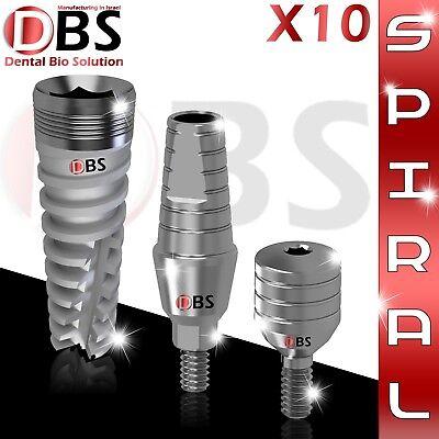10x Dental Titanium Spiral Implant Kit Straight Abutment Healing Cap Dentist
