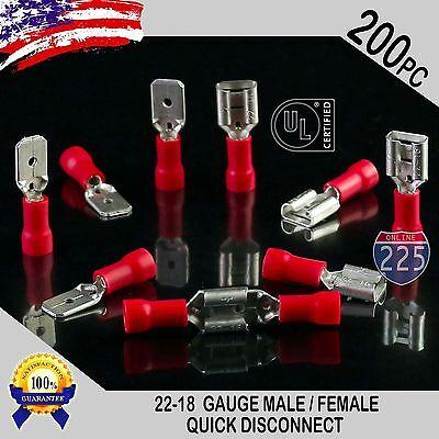 200 Pack 22-18 Gauge Male Female Quick Disconnect Red Vinyl .250 Connectors