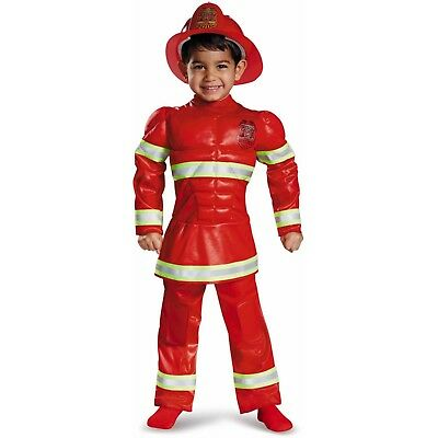 Red Fireman Toddler Muscle Halloween Costume by Disguise 2T (2t Fireman Halloween Costume)