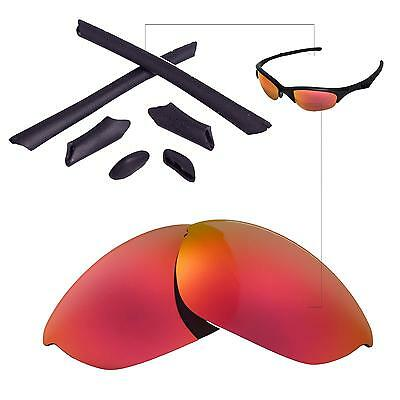 1981f68a54 New Walleva Fire Red Lenses And Black Rubber Kit For Oakley Half Jacket