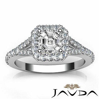 Asscher Shape Diamond Engagement GIA H VS2 18k White Gold Halo Pave Set Ring 1Ct 10