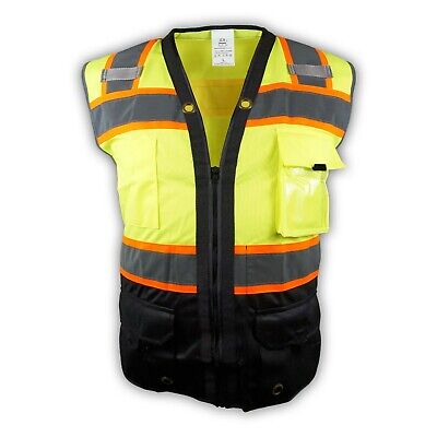 Surveyor Black Lime Two Tones Safety Vest Ansi Isea 107-2015 Photo Id Pocket