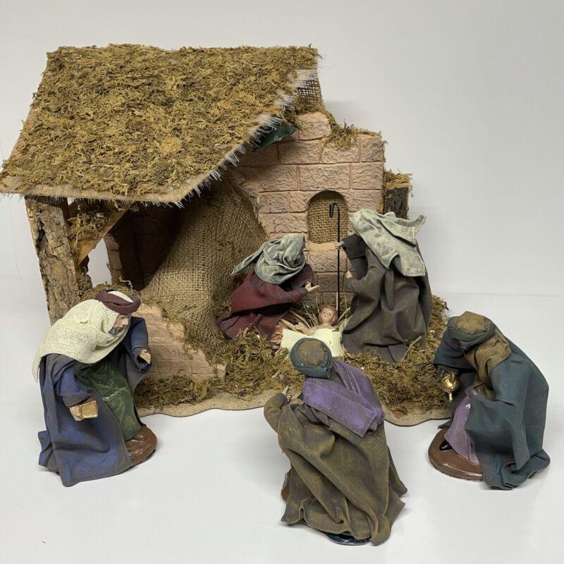 5 Piece Fiber Optic Fabric-Mache Christmas Nativity Scene - Tested and Working.