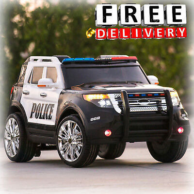 Battery Powered Police Jeep 12V Toddler Ride On Toys Remote Electric Light