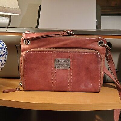 Fossil Long Live Vintage 1954 Brown Leather Cross Body Handbag