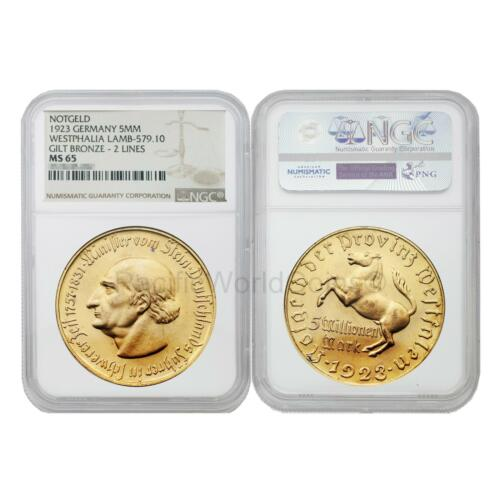 Germany 1923 Westphalia Lamb-579.10 5 Million Mark Gilt Bronze 2 LINES NGC MS65
