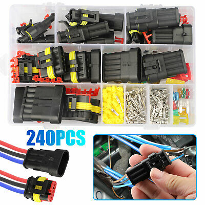 260pcs Waterproof Car Auto Electrical Wire Connector Plug 1-6 Pin Way Plug Kit