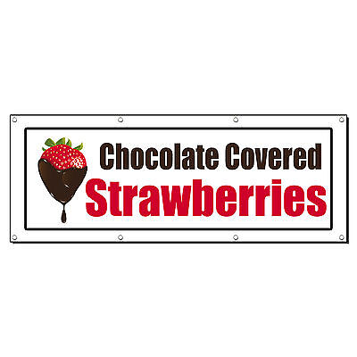 Chocolate Covered Strawberries Food Fair Sign Banner 2 X 4 W  4 Grommets