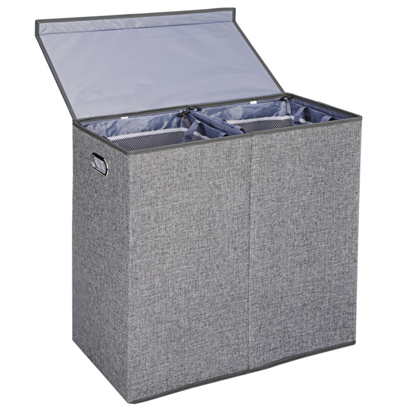 Foldable Double Laundry Hamper Clothes Basket with Lid and Removable Liners