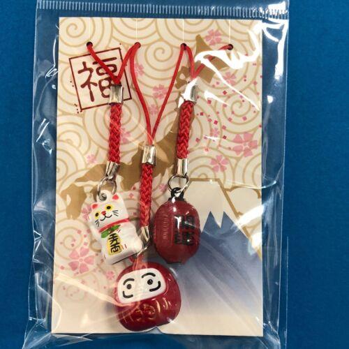 Maneki Neko Daruma Lantern Key Chain Strap 3pcs Set Cute with Ring a Bell