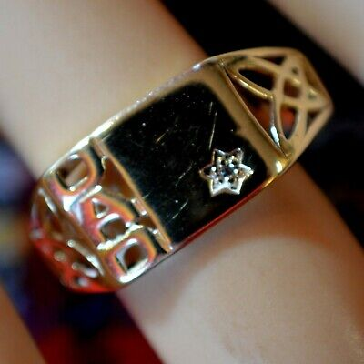 9 ct GOLD second hand Celtic diamond gents dad ring