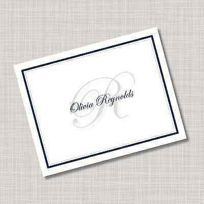 Personalized Navy Blue & Gray Monogram Note Cards - Any Color! (Monogrammed Note)