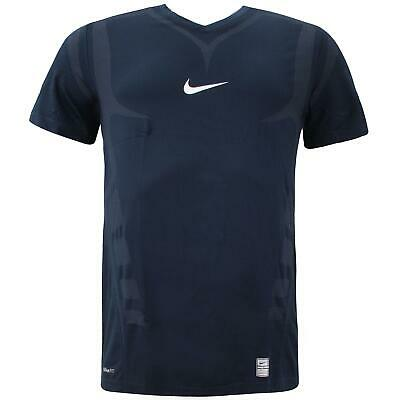 Nike Pro Mens Training T-Shirt Sports Gym Running Top Navy 321252 451