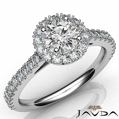 Halo French V Pave Women's Round Diamond Engagement Ring GIA E Color VVS2 1.71Ct
