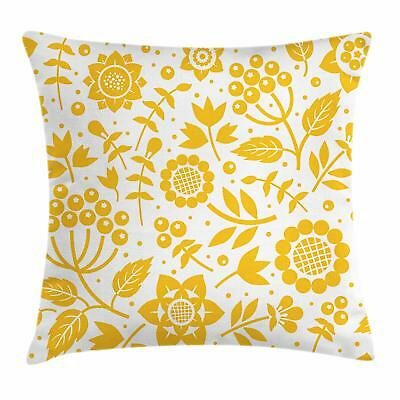 Yellow Flower Throw Pillow Cases Cushion Covers Ambesonne Home Decor 8 Sizes