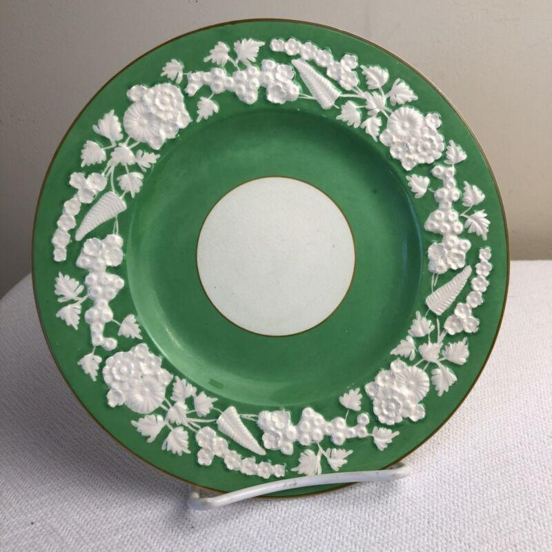 "George Jones & Sons England Rhapsody Green Floral Plate Dessert Salad 7 3/4"""
