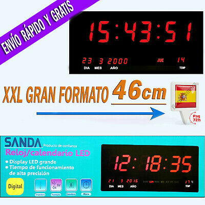 39539e47b34d Reloj LED de Pared Digital Extra Grande 46x22cm Temperatura Calendario  Oficina R