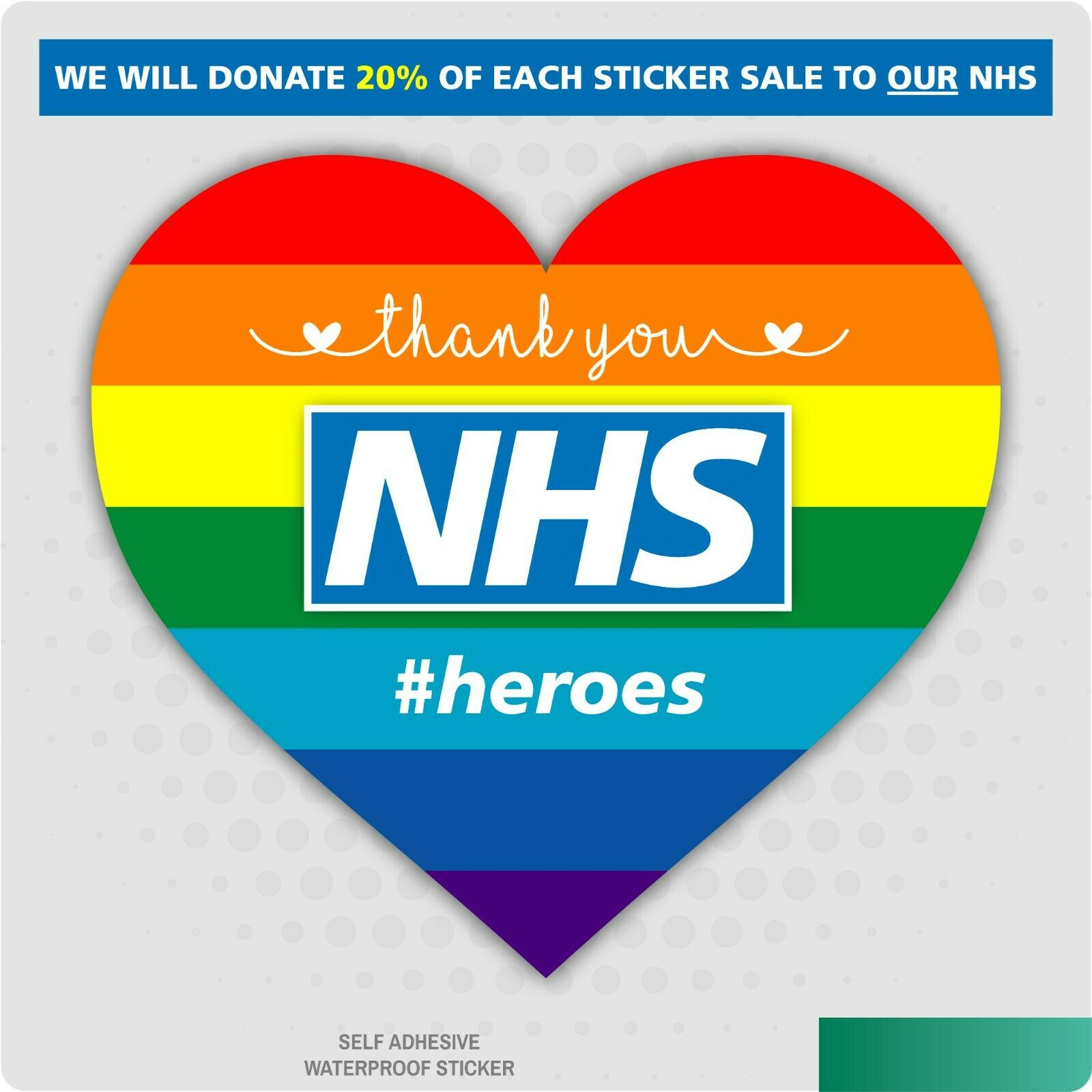 Home Decoration - Thank You NHS Rainbow Heart Window Sticker Decal Car Van Shop Home Decal
