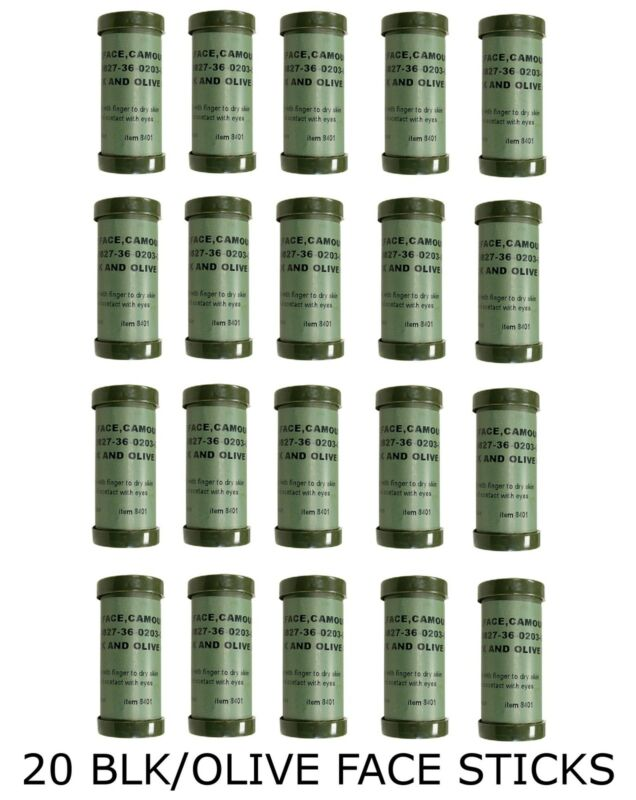 NATO Camouflage Paint Sticks- Package of 20 Black/Olive Face Sticks