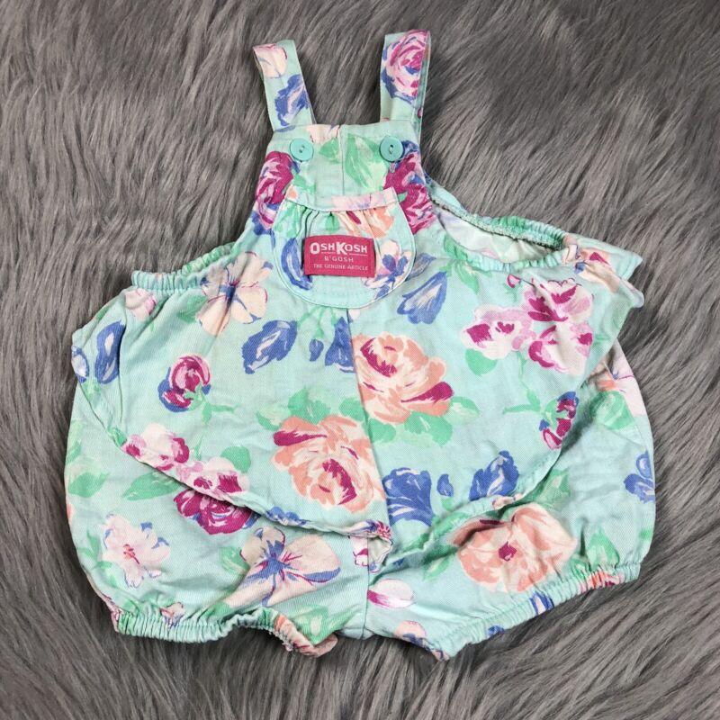 RARE Vintage Oshkosh Bgosh Ballet Co Floral Bubble Romper Baby Girls