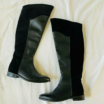 Catherine Malandrino Womens Over The Knee Boots Leather Tall Riding Flat Sz 8.5